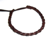 Mens Womens Brown Real Leather Narrow Plaited Wristband Bracelet / Wrist Tie / Surf Bracelet