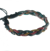 Thin leather green yellow red bracelet adjustable to fit every wrist or ankle B2