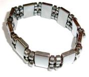 Hematite Gemstone Stretch Bracelet - Spacers