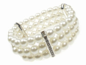 Glitz4Girlz 3 Row Stretch Pearl Bead Bracelet