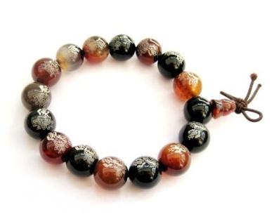 Ovalbuy 12mm Agate Beads Tibetan Buddhist Auspicious Lotus Buddha Wrist Mala Bracelet