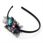HA20398 Coloured Stones & Black Lace Headband Wedding