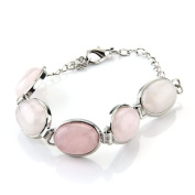 Oval Pink Rose Quartz Chain Bracelet Link 1.8cm x 1.3cm HOT