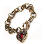 Antique Gold Tone Red Heart Charm Chain Bracelet