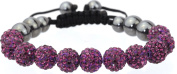Shamballa bracelet 11 10mm Czech. disco ball beads crystal highly polished hematite bling woven friendship- purple