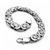 JewelryWe High Polished 316l Stainless Steel Mens Silver Chain Link Bracelet 22cm in Gift Bag