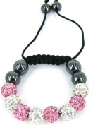 Kids stringless shamballa bracelet with clay crystal disco sparkling balls - KWK5 Pink and White