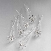 HA05377 6 Pack Silver Crystal Metal Hair Pin Accessory