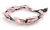 MGD, Light Pink Rose Quartz Chip Bracelet, 2-strand. Beautiful Handmade Gemstone Wrap Bracelet made from wax cord. Fashion Jewellery for Women, Teens and Girls, JB-0060