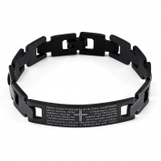 JewelryWe New Fashion Mens Lord's Prayer Cross Black Plated 316l Stainless Steel Link Chain Bracelet