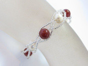 Blingalove Freshwater Pearl With Cornelian Bracelet On Lobster Clasp