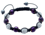 Shamballa Crystal Ball bracelet by BodyTrend © - Amethyst Beads & Clear Iced balls - fits lovely on any wrist - perfect for a gift - packed in a cute velvet pouchette - Fits 18cm to 22cm