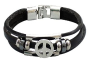 Multi Black Leather Bracelet by BodyTrend© embellished with silver-toned Peace sign and Beads, fashionable and durable, fits just right!