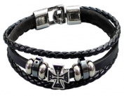 Multi-Strand Black Leather Bracelet by BodyTrend© embellished with antique silver-toned Cross and Beads, fashionable and durable, fits just right!