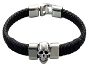 Black Braided Leather Bracelet by BodyTrend© embellished with alloy silver-toned Skull, fashionable and durable, fits just right!