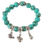 Lovely handmade fashion bracelet by BodyTrend © - antique silver plated - imitation quality turquoise beads
