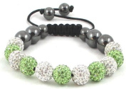 11-Ball Green & White Bead Shamballa Bracelet with no strings