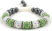 11-Ball Multi-White/Green Bead Shamballa Bracelet with Green Spacers on White String Ideal Gift for Christmas Birthdays