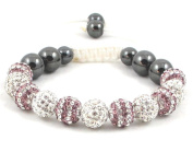 11-Ball Dual Double Colour Row Purple and White Bead Shamballa Bracelet on White String ** EXCLUSIVE DESIGN **