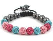 10-Ball Triple Colour Blue Pink Fuchsia Shamballa Bracelet on Black Cord string ** EXCLUSIVE DESIGN **