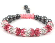 10-Ball Pink & White Gradient Colour Bead Shamballa Bracelet on Pink & White String ** EXCLUSIVE DESIGN **