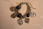 CHARM BRACELET - WITH SILVER HEARTS AND NAVY DARK BLUE PEARLS