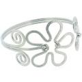 Silver & Crystal Textured Swirl Flower Armlet Arm Band Bracelet