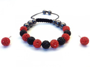11-Ball Red & Black Bead Shamballa Bracelet with no strings + Red Earring Pair