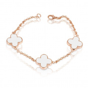 FASHION PLAZA Rose Gold Finish White Simulated Pearl Shell Flower Bracelet with Cubic Zirconia B11