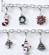 Christmas Charm Bracelet. Silver-plated T-bar bracelet with 6 coloured, enamelled charms including a stocking, present and snowman