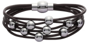Jodie Rose Light Brown Leather and Silver Bead Bracelet of 19cm