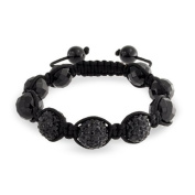 Bling Jewellery Faceted Simulated Onyx Black Crystal Beaded Shamballa Inspired Bracelet