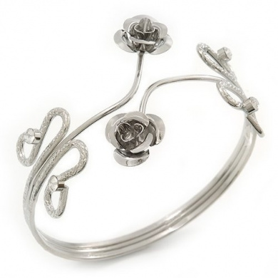 Rhodium Plated 'Rose' Armlet Upper Arm Cuff Bracelet - Adjustable