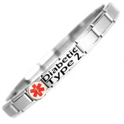 Diabetic Type 2 Medical ID Alert Bracelet - Stainless Steel - One size fits all - Totally Adjustable