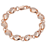 18ct rose Gold Plated Chain Bracelet Health Jewellery Nickel Free Rhinestone Austrian. Elements Crystal B021