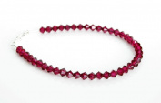 Sterling Silver & Sparkly Ruby Dark Pink Crystals Handmade Bracelet Made With. ELEMENTS