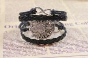Women's Girl's Wolf Black Bracelet Retro Fashion 15 - 20 cm Handmade With Gift Box