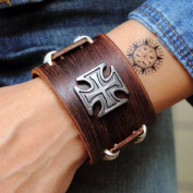 Jirong Antique Men's Brown Leather Cuff Bracelet, Leather Wrist Band Wristband Handcrafted Jewellery Sl2257