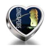 Soufeel Travel Merlion Singapore Heart Photo Charm Beads Fit Pandora Chamilia Biagi beads Charms Bracelet