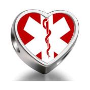 Soufeel Sign Medical Alert Heart Photo Charm Beads Bracelets Fit Pandora Chamilia Biagi beads Charms Bracelet