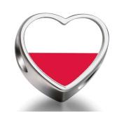Soufeel Poland flag Heart Photo Charm Beads Fit Pandora Chamilia Biagi beads Charms Bracelet