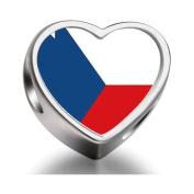 Soufeel Czech Republic flag Heart Photo Charm Beads Fit Pandora Chamilia Biagi beads Charms Bracelet