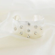 Bling Rocks Designer Contemporary Celebrity Style 'Twinkle' Diamante and Silver Cuff Quality Bracelet/Bangle