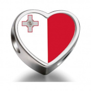 Soufeel Malta flag Heart Photo Charm Beads Fit Pandora Chamilia Biagi beads Charms Bracelet