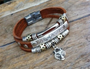 Men's Women's Bracelet with Wolf Retro Fashion Brown Genuine Leather 19 cm Handmade With Gift Box
