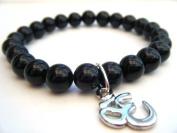 Mens Black Agate OM Mala Bracelet - Yoga Mala, Spiritual Jewellery