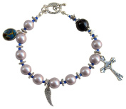 ~SILVER AND BLUE~ MAGNETIC HEMATITE HANDCRAFTED ROSARY BRACELET