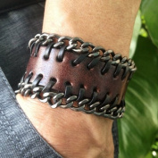 Antique Men's Brown Leather with Metal Chains Cuff Bracelet, Leather Wrist Band Wristband Handcrafted Jewellery SL2499