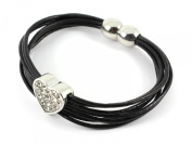 Crystal Heart Bracelet - 1.5cm Crystal Encrusted Heart on a Multi-Stranded Black Leather Bracelet with Magnetic Clasp - Includes Gift Box
