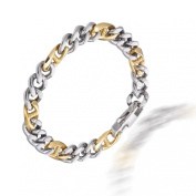 Mens Jewellery in Solid Stainless Steel Silver and Gold, Classic Cut Chain Links Bracelet in two colour effect. Masculine and Chunky, but Lightweight. Safe Festive Christmas Gift Idea for him. Great Price for promotion.